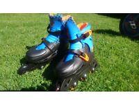 Children's adjustable inline skates. Sizing 13 - 3.