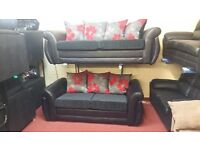 3 SEATER SHANNON £369 GET THE 2 SEATER FREE!!! IN RED FLORAL CUSHIONS WITH PU BODY BLACK
