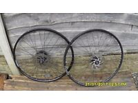 PR 26in MOUNTAIN BIKE DISC BRAKE WHEELS + DISCS + 9 SPEED CASSETTE