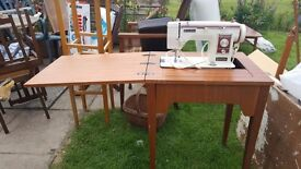 Built in sewing machine and table