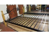 Lovely wood & Black Metal Double Bed Frame