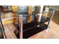 TV Stand & Matching Shelf Unit, Black Glass/Chrome
