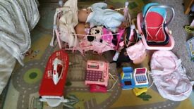 Childrens Dolls Cot Bags Iron and Cash Machine Toy Set