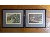 A pair of coloured prints of Pheasant shooting and Woodcock shooting