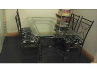 Glass dining table and 4 chairs plus matching coffee table
