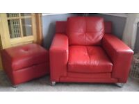 Red Leather Sofa, chair and stool