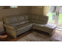 Leather corner sofa and pouffe
