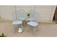 Set of 4 Country Shabby Chic Kitchen Dining Chairs in Annie Sloan