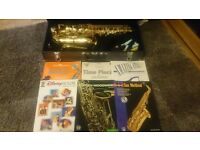 Alto Saxaphone with 6 Music Books