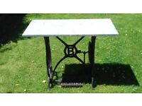 Antique vintage sewing table marble top cast iron base