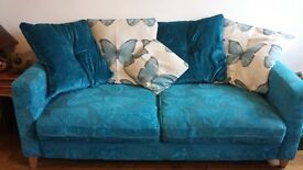Gorgeous blue/teal butterfly sofa and cuddle chair