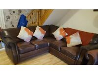 Leather corner sofa and arm chair