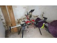 einhell 210mm dual sliding mitre saw & laser and roller stand