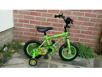 "Boys bike 12""wheels with stabilisers"