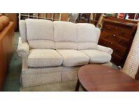 High backed 3 seater grey fabric sofa