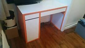 IKEA Micke desk white and orange