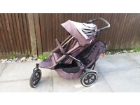 Phil & Teds Sports Double Buggy/Pushchair + Extras (Black)