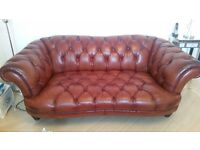 SOLD**3 Seater + 2 Seater Leather Chesterfield Sofa - Cost £3500 New - Selling For £350