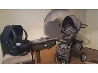 Stokke Xplory Travel System Complete Black Melange+STOKKE® iZi Sleep by BeSafe