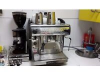 Commercial Coffee Machine with bean grinder and other utils