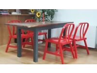 4 solid wood red IKEA chairs