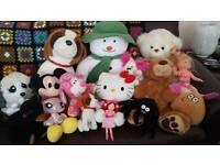 Soft toys, teddys and a doll