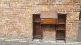 Oak Desk Bureau with shelves and opening writing table