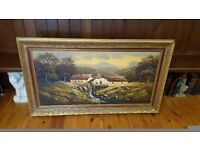 large old oil painting of a watermill in ornate gold frame, oil on canvas signed