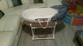 Mothercare whale bay moses basket with stand