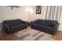 Ex-display Natuzzi Salerno grey leather electric recliner 3+2 seater sofas