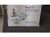 BNIB 5 Piece Korean Soup Pots with Lids