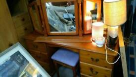 Pine dressing table with stool -Mirror