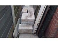 Nine concrete blocks. 44x21x19.5 cm. Suitable to mount shed, static caravan or for building use.