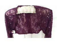 Ladies long sleeved Wrap shrug Grape