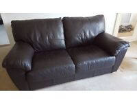Brown leather 2 seater sofa / settee