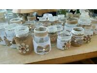 Hessian and lace decorated jars x32
