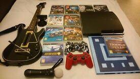 Sony Playstation 3 (300GB Black - Slim) + 10 Games, 4 Controllers and Camera