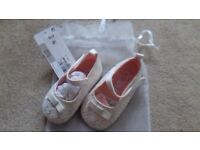 New ivory pram shoes 6-12 months from M&S