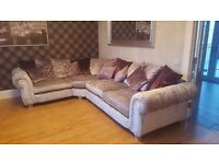 SILVER CRUSHED VELVET SOFA WITH TWISTER CHAIR AND FOOTSTOOL FOR SALE