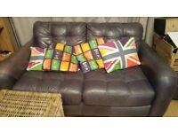 Purple 2 seater Italian Leather sofa