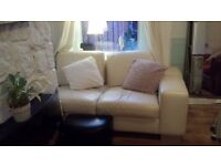 Ivory Leather Corner Sofa