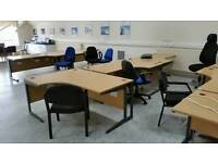 Office Furniture Clearance: Wave Desks, Drawers, Chairs