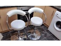 two white faux leather breakfast bar stools for sale