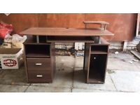 Computer Desk Brown Wooden High Quality Multiple Draws