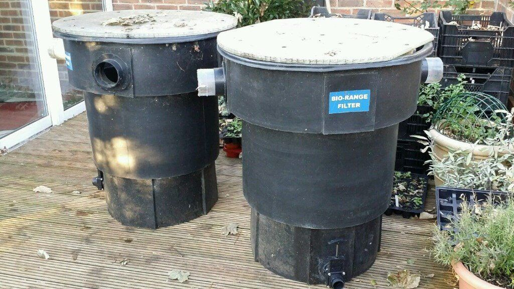 Large koi pond filtration system worthing west sussex for Used fish pond filters