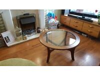 Vintage Retro Gplan Inspired Coffee Table with Glass top G Plan