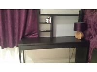 Ikea Micke Large Black Desk with whiteboard shelf and drawers