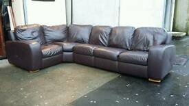 Real leather 5 seater corner suite