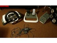 xbox 360 driveing wheel pedals and a clamp