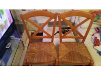 2 WOODEN WICKER DINING CHAIRS